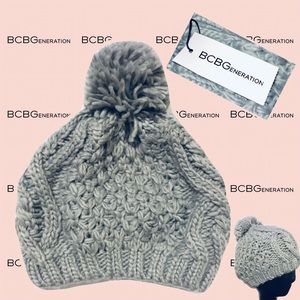 BCBGeneration Women's Gray Knit Pom Pom Beanie